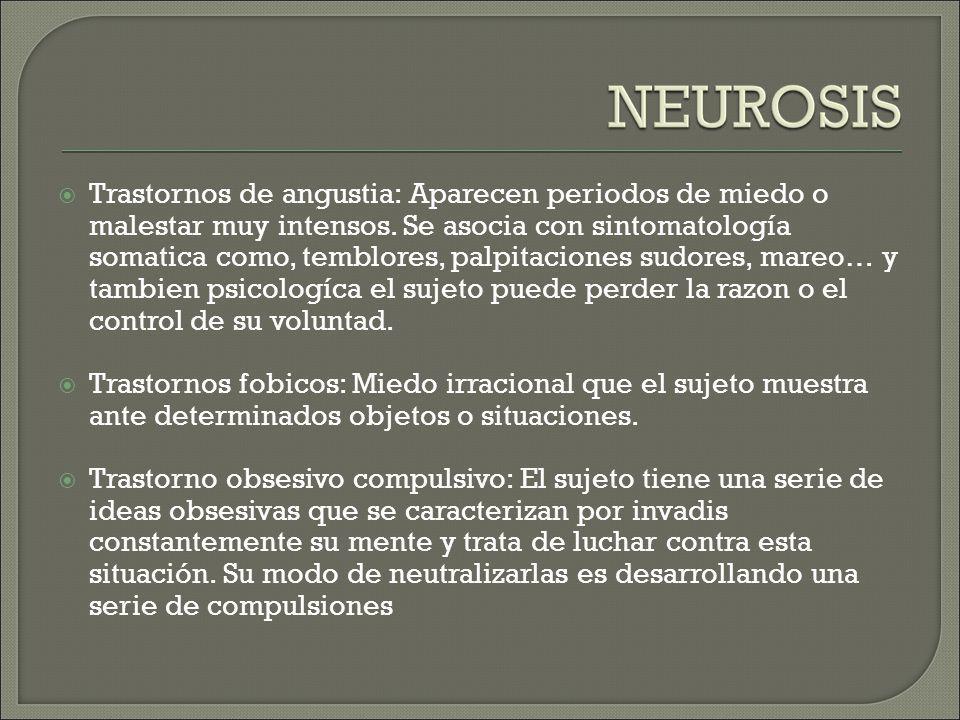 Trastornos de angustia: Aparecen periodos de miedo o malestar muy intensos.
