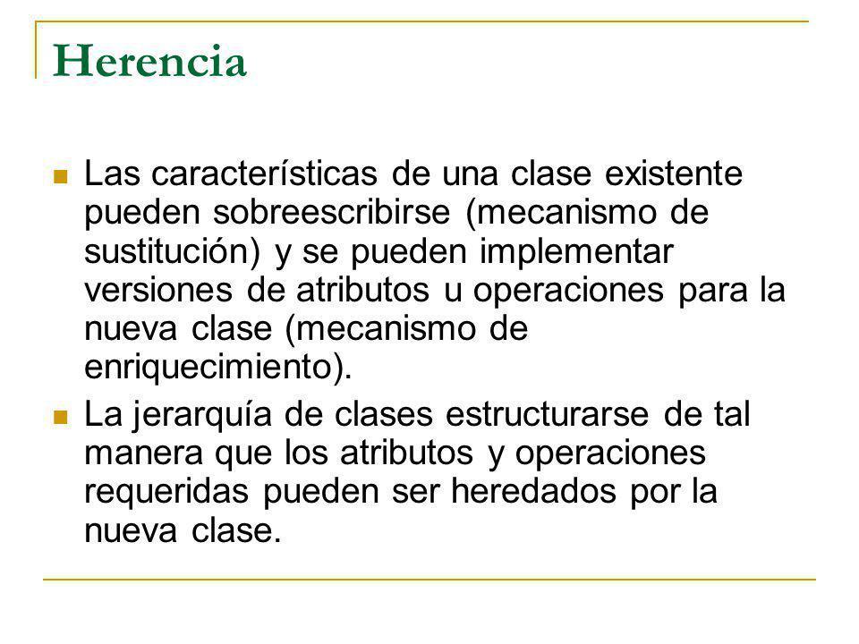 Herencia Las características de una clase existente pueden sobreescribirse (mecanismo de sustitución) y se pueden implementar versiones de atributos u