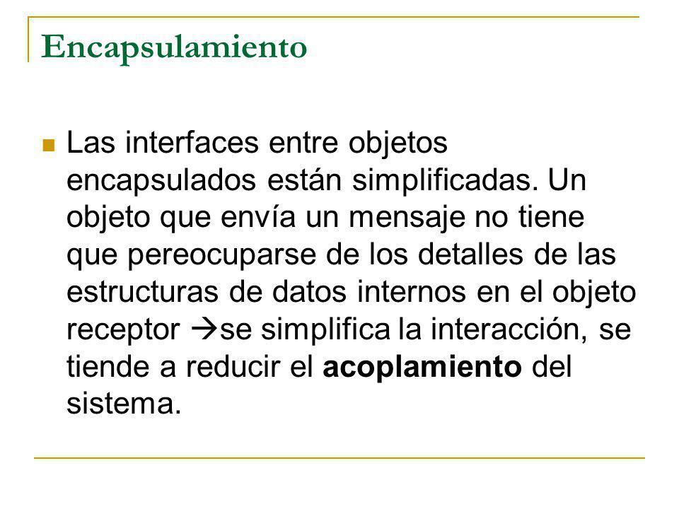 Encapsulamiento Las interfaces entre objetos encapsulados están simplificadas. Un objeto que envía un mensaje no tiene que pereocuparse de los detalle