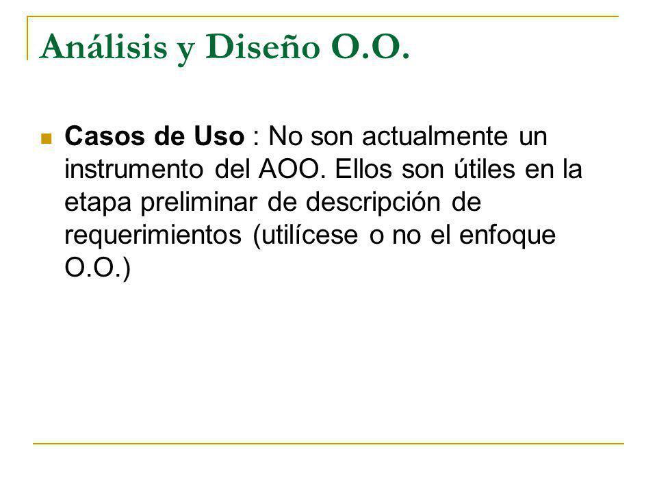 Análisis y Diseño O.O. Casos de Uso : No son actualmente un instrumento del AOO. Ellos son útiles en la etapa preliminar de descripción de requerimien