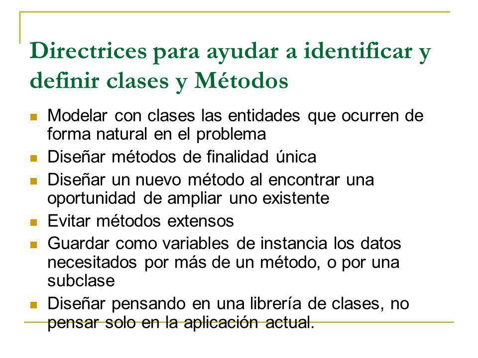 Directrices para ayudar a identificar y definir clases y Métodos Modelar con clases las entidades que ocurren de forma natural en el problema Diseñar