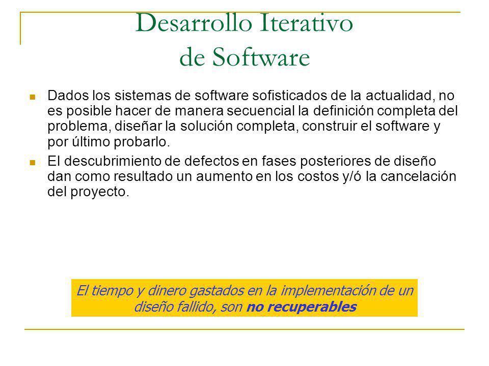 Desarrollo Iterativo de Software Dados los sistemas de software sofisticados de la actualidad, no es posible hacer de manera secuencial la definición
