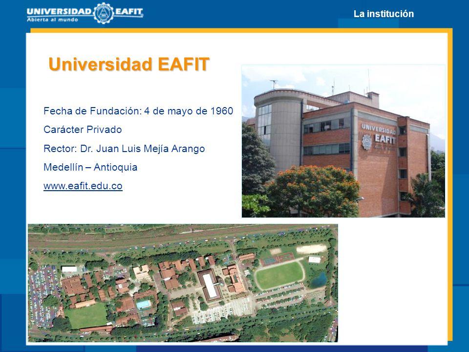 Universidad EAFIT Fecha de Fundación: 4 de mayo de 1960 Carácter Privado Rector: Dr. Juan Luis Mejía Arango Medellín – Antioquia www.eafit.edu.co La i