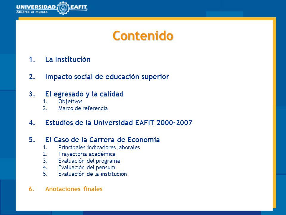 Contenido 1.La Institución 2.Impacto social de educación superior 3.El egresado y la calidad 1.Objetivos 2.Marco de referencia 4.Estudios de la Univer