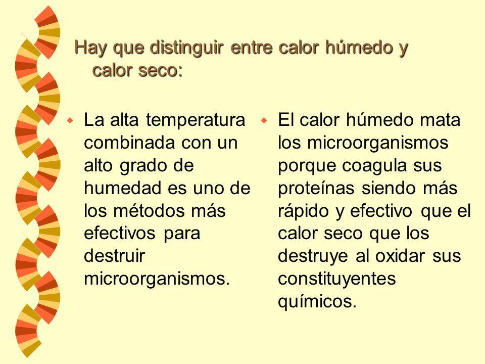 w A.- Esterilización por calor húmedo: Autoclave Tindalización Pasteurización Herbir w B.- Esterilización por calor seco: Horno Incineración Altas Tem