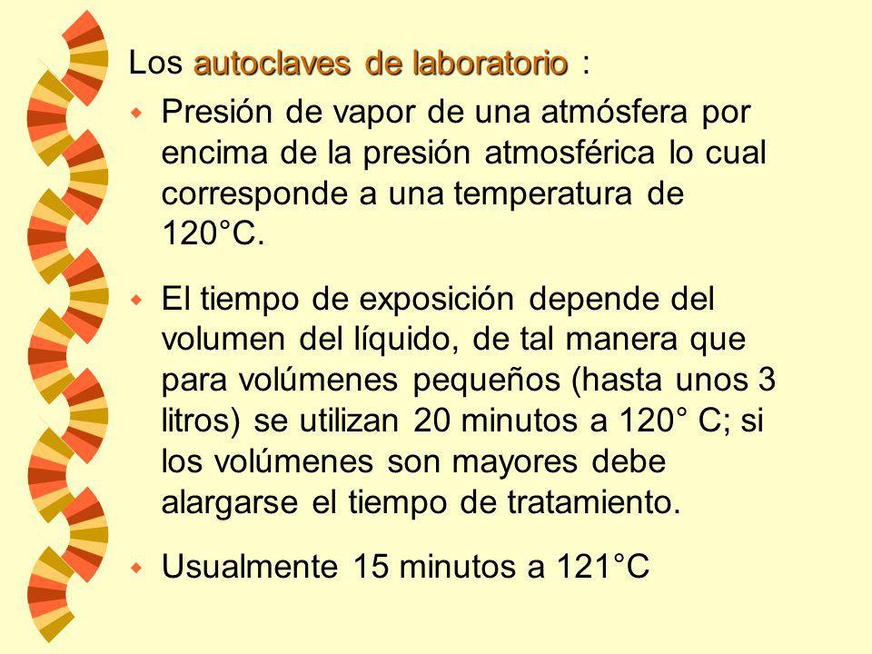 w El calor en forma de vapor a saturación y a presión proporciona temperaturas superiores a las que se obtienen por ebullición. Autoclave: autoclave w