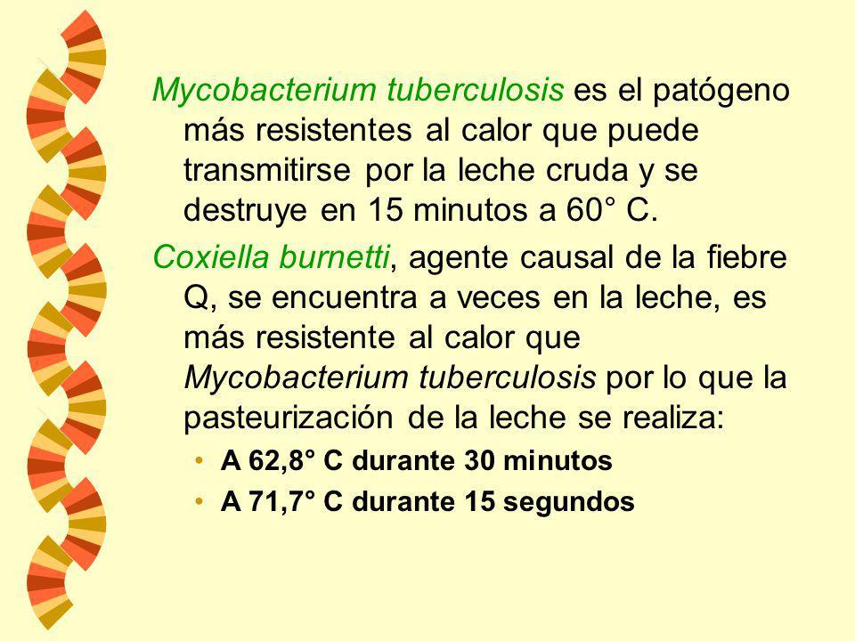 w La leche pasteurizada no es estéril. tiempo térmico mortal de microorganismos patógenos La temperatura seleccionada para la pasteurización se basa e