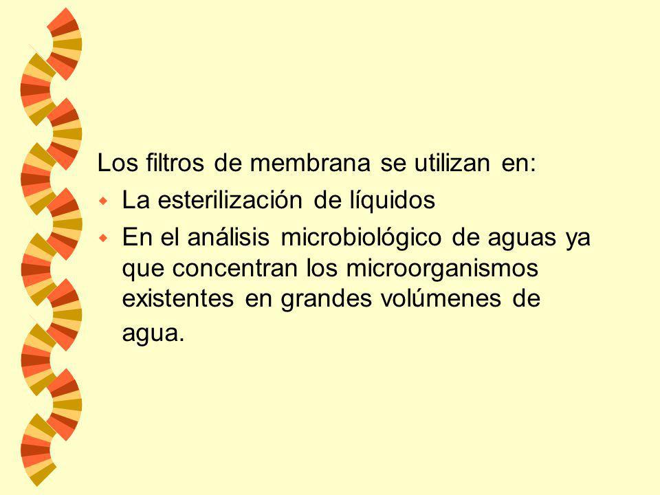 w Membranas filtrantes: tienen una estructura continua, y la retención se debe principalmente al tamaño de la partícula. Los filtros de membranas son