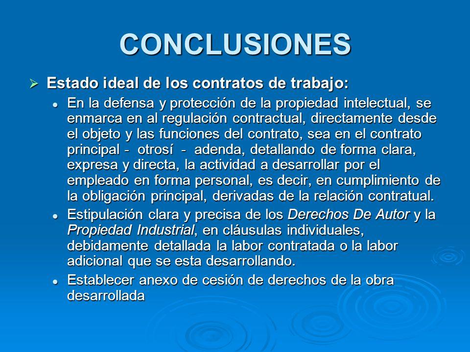 CONCLUSIONES Estado ideal de los contratos de trabajo: Estado ideal de los contratos de trabajo: En la defensa y protección de la propiedad intelectua