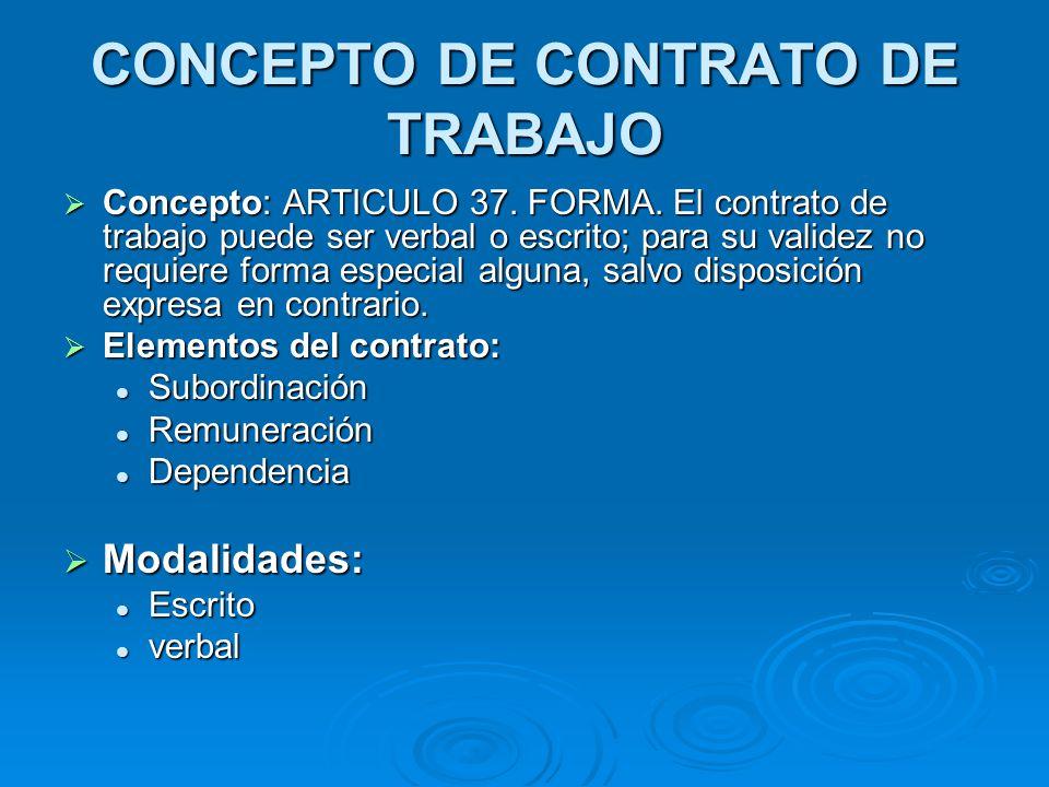 CONCEPTO DE CONTRATO DE TRABAJO Concepto: ARTICULO 37. FORMA. El contrato de trabajo puede ser verbal o escrito; para su validez no requiere forma esp
