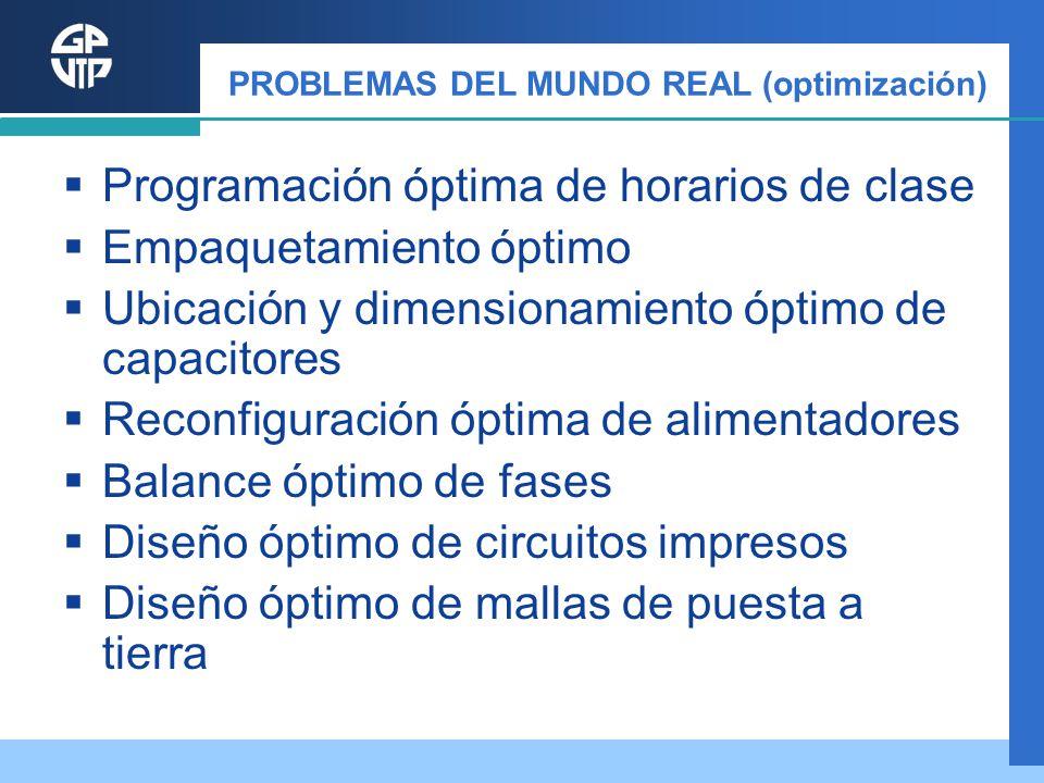 PROBLEMAS DEL MUNDO REAL (optimización) Programación óptima de horarios de clase Empaquetamiento óptimo Ubicación y dimensionamiento óptimo de capacit
