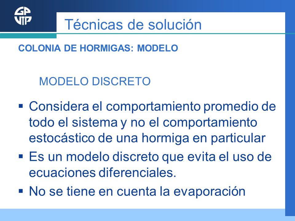 MODELO DISCRETO Considera el comportamiento promedio de todo el sistema y no el comportamiento estocástico de una hormiga en particular Es un modelo d