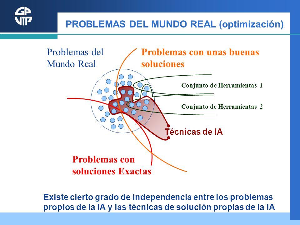 PROBLEMAS DEL MUNDO REAL (optimización) Problemas con soluciones Exactas Problemas con unas buenas soluciones Problemas del Mundo Real Conjunto de Her