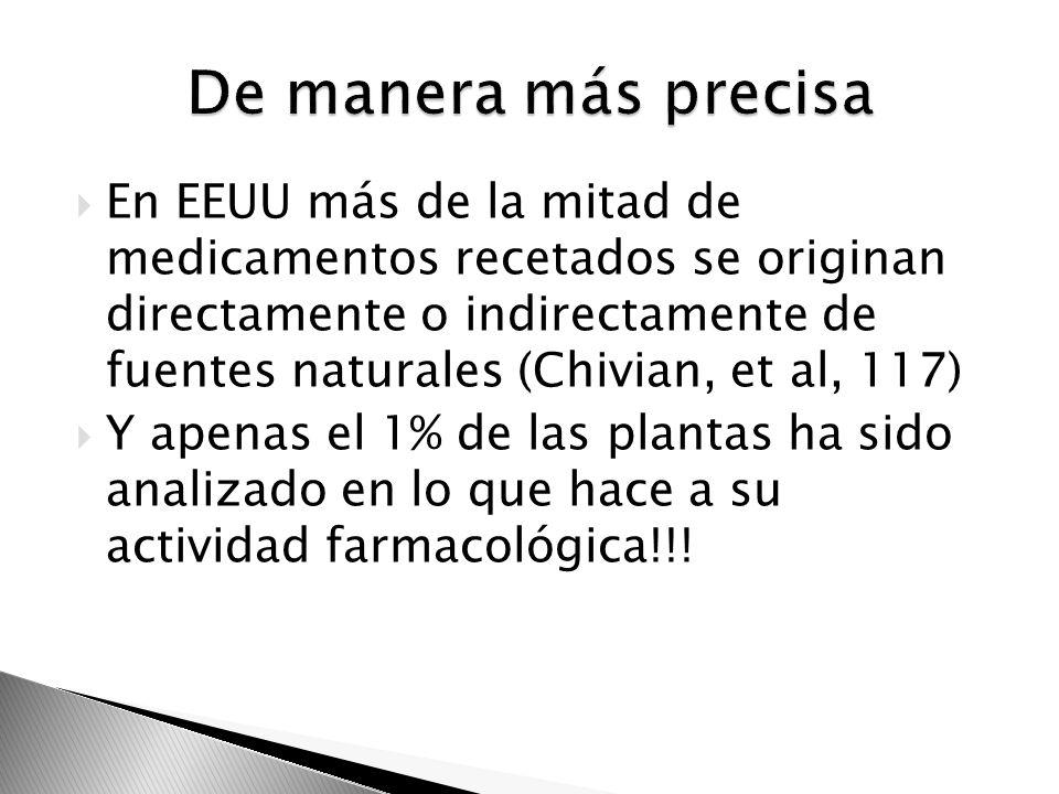 En EEUU más de la mitad de medicamentos recetados se originan directamente o indirectamente de fuentes naturales (Chivian, et al, 117) Y apenas el 1%