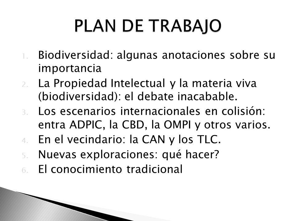 1. Biodiversidad: algunas anotaciones sobre su importancia 2. La Propiedad Intelectual y la materia viva (biodiversidad): el debate inacabable. 3. Los