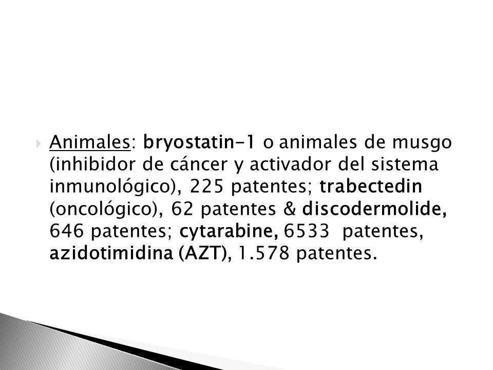 Animales: bryostatin-1 o animales de musgo (inhibidor de cáncer y activador del sistema inmunológico), 225 patentes; trabectedin (oncológico), 62 pate