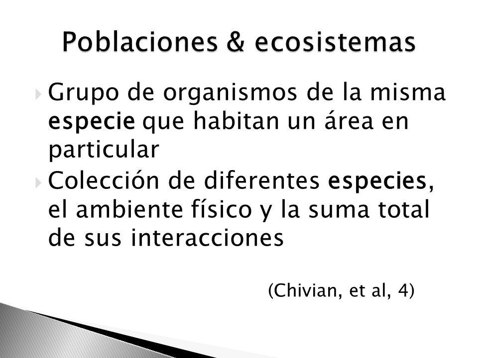 Grupo de organismos de la misma especie que habitan un área en particular Colección de diferentes especies, el ambiente físico y la suma total de sus