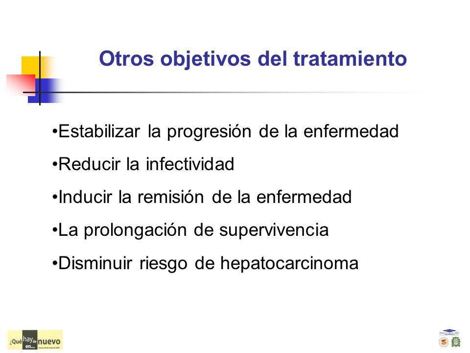 Otros objetivos del tratamiento Estabilizar la progresión de la enfermedad Reducir la infectividad Inducir la remisión de la enfermedad La prolongació
