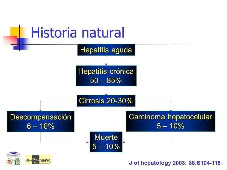 Historia natural Hepatitis aguda Hepatitis crónica 50 – 85% Cirrosis 20-30% Muerte 5 – 10% Descompensación 6 – 10% Carcinoma hepatocelular 5 – 10% J o