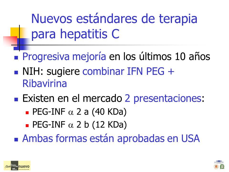 Nuevos estándares de terapia para hepatitis C Progresiva mejoría en los últimos 10 años NIH: sugiere combinar IFN PEG + Ribavirina Existen en el merca