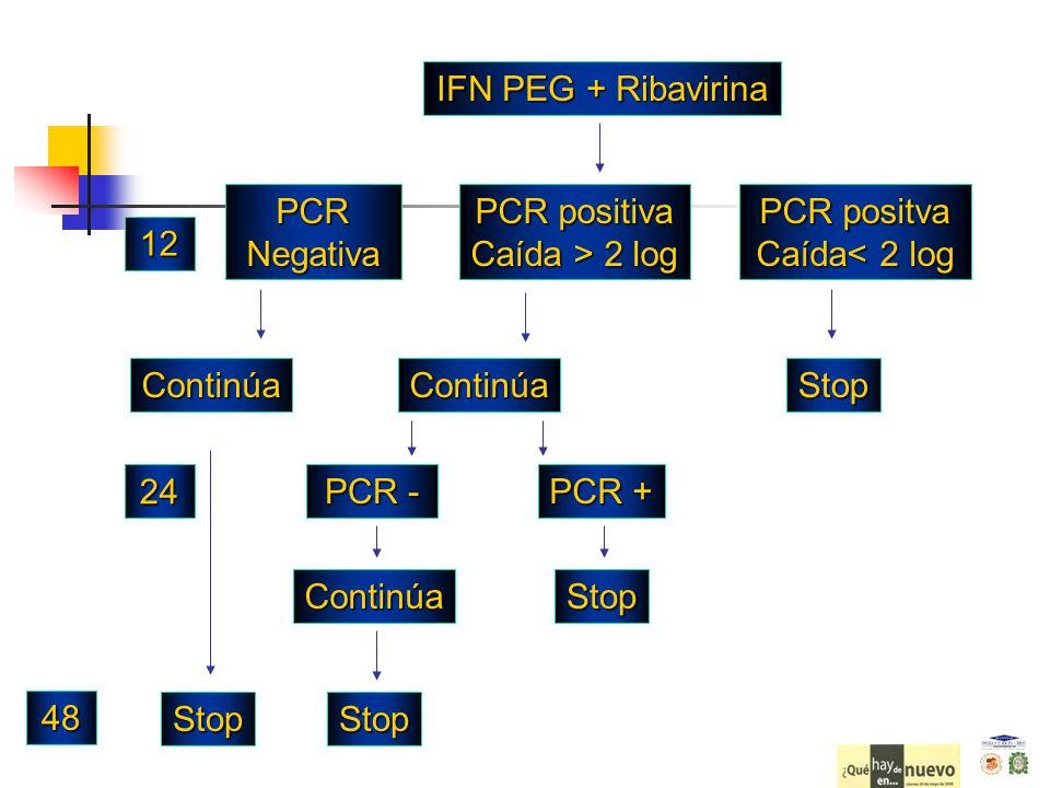 IFN PEG + Ribavirina PCR Negativa PCR positiva Caída > 2 log PCR - ContinúaContinúa PCR positva Caída< 2 log Stop PCR + StopContinúa StopStop 12 24 48