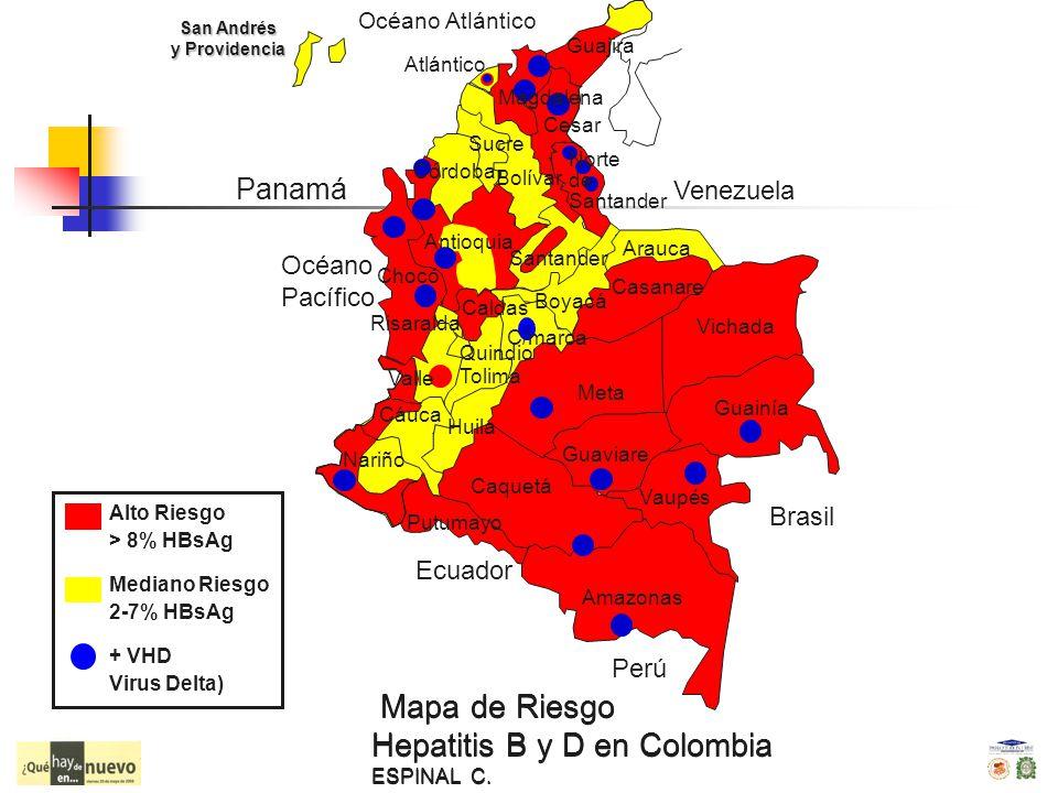 Mapa de Riesgo Hepatitis B y D en Colombia ESPINAL C. Alto Riesgo > 8% HBsAg Mediano Riesgo 2-7% HBsAg + VHD Virus Delta) Panamá