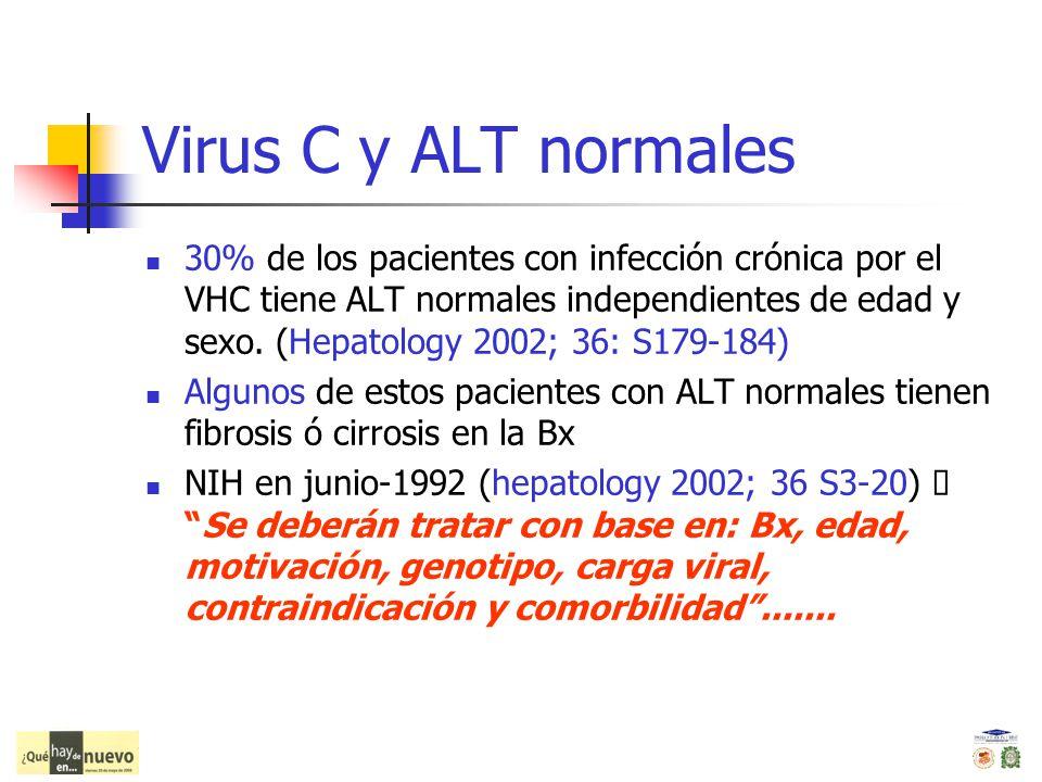Virus C y ALT normales 30% de los pacientes con infección crónica por el VHC tiene ALT normales independientes de edad y sexo. (Hepatology 2002; 36: S