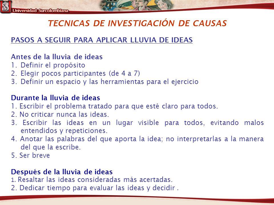 TECNICAS DE INVESTIGACIÓN DE CAUSAS PASOS A SEGUIR PARA APLICAR LLUVIA DE IDEAS Antes de la lluvia de ideas 1.Definir el propósito 2.Elegir pocos part