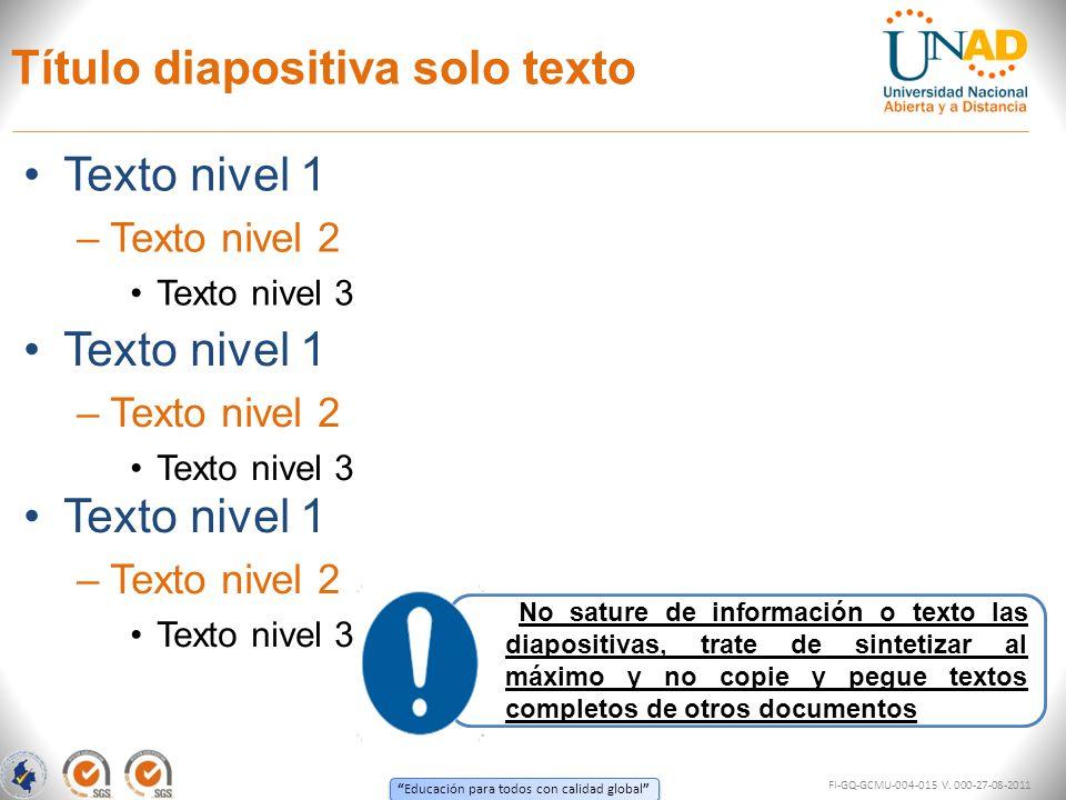 Educación para todos con calidad global TITULO 1TITULO 2TITULO 3 *Texto 1 - Texto 2 *Texto 1 - Texto 2 *Texto 1 - Texto 2 *Texto 1 - Texto 2 *Texto 1 - Texto 2 *Texto 1 - Texto 2 Título diapositiva con cuadro Los cuadros o tablas son una excelente herramienta para sintetizar información, sin embargo deben ser resumidos y deben contener el mínimo de texto posible para no saturar la diapositiva ni desgastar al auditorio FI-GQ-GCMU-004-015 V.
