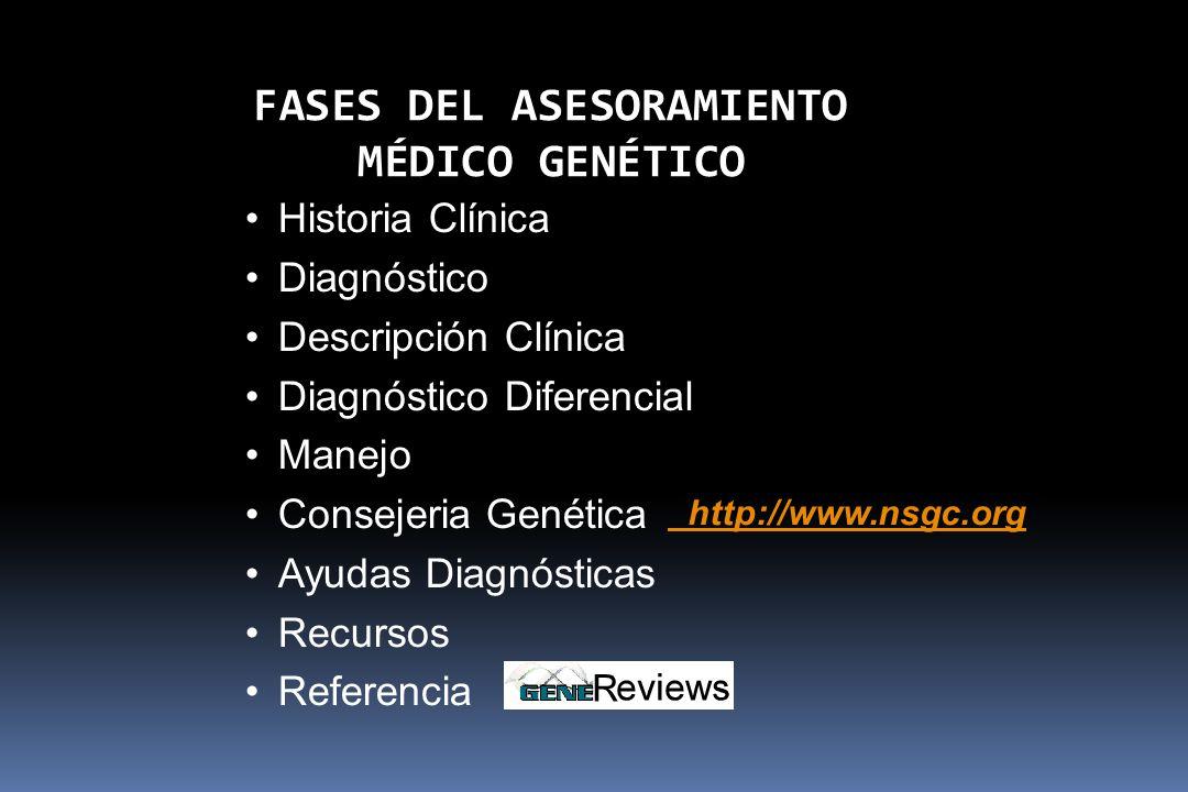 Historia Clínica Diagnóstico Descripción Clínica Diagnóstico Diferencial Manejo Consejeria Genética Ayudas Diagnósticas Recursos Referencia http://www