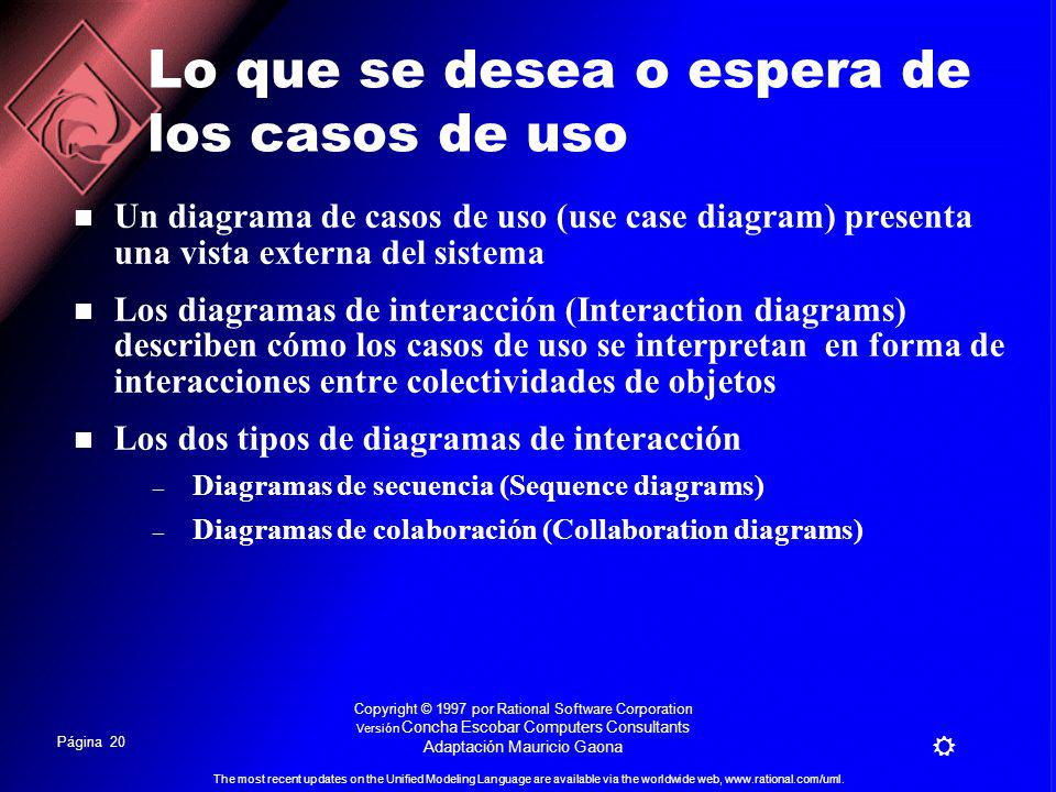 Página 19 The most recent updates on the Unified Modeling Language are available via the worldwide web, www.rational.com/uml. Copyright © 1997 por Rat