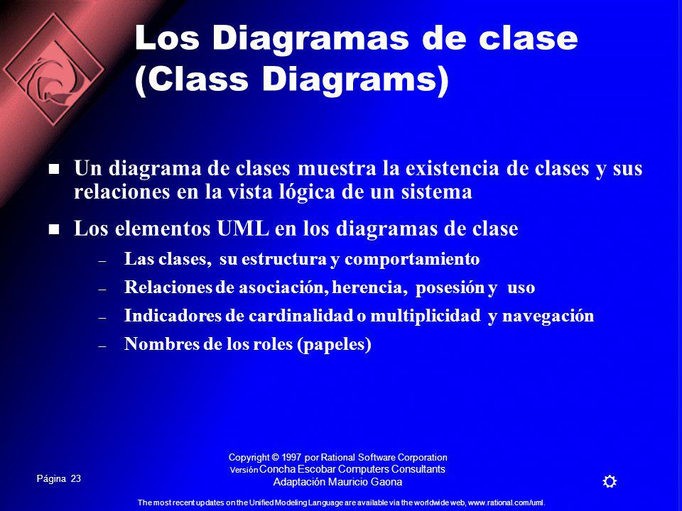 Página 22 The most recent updates on the Unified Modeling Language are available via the worldwide web, www.rational.com/uml. Copyright © 1997 por Rat
