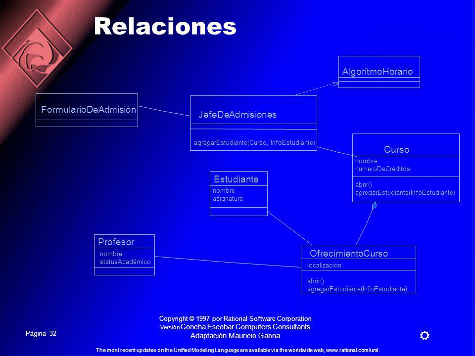 Página 31 The most recent updates on the Unified Modeling Language are available via the worldwide web, www.rational.com/uml. Copyright © 1997 por Rat