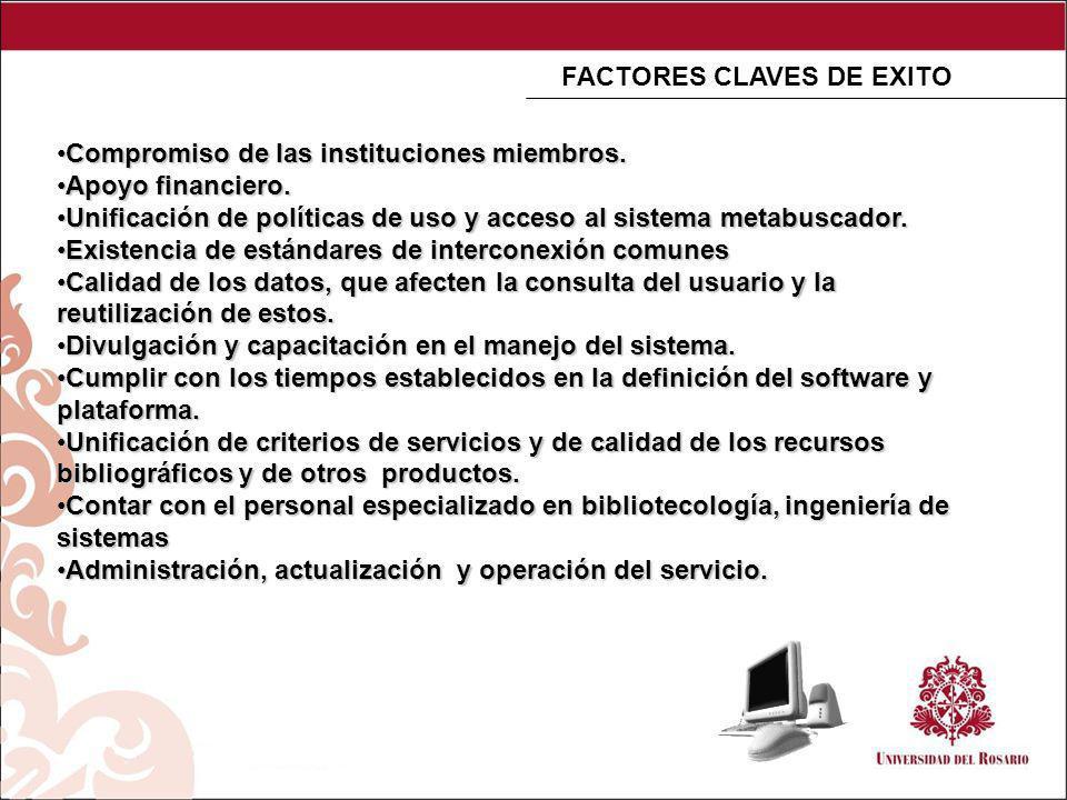 FACTORES CLAVES DE EXITO Compromiso de las instituciones miembros.Compromiso de las instituciones miembros.