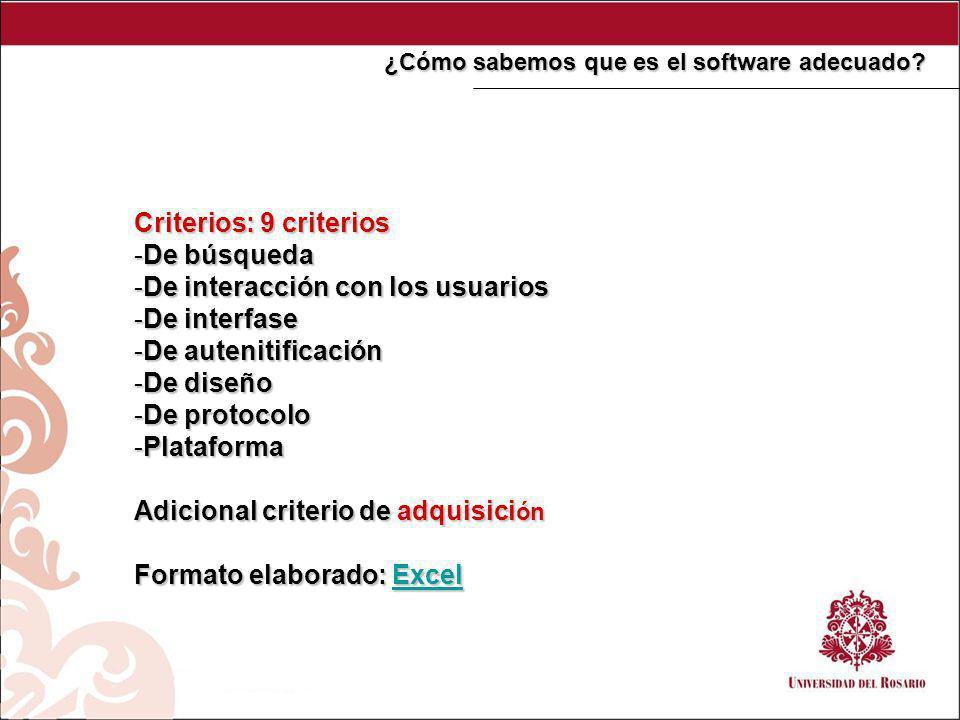 Criterios: 9 criterios -De búsqueda -De interacción con los usuarios -De interfase -De autenitificación -De diseño -De protocolo -Plataforma Adicional criterio de adquisici ón Formato elaborado: Excel Excel ¿Cómo sabemos que es el software adecuado