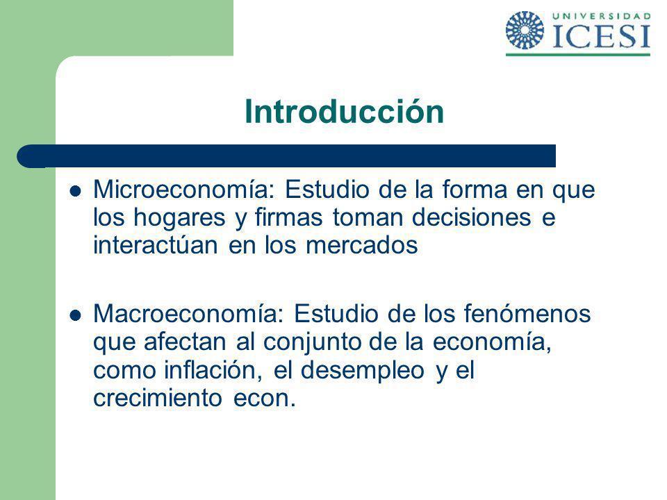 Introducción Microeconomía: Estudio de la forma en que los hogares y firmas toman decisiones e interactúan en los mercados Macroeconomía: Estudio de l