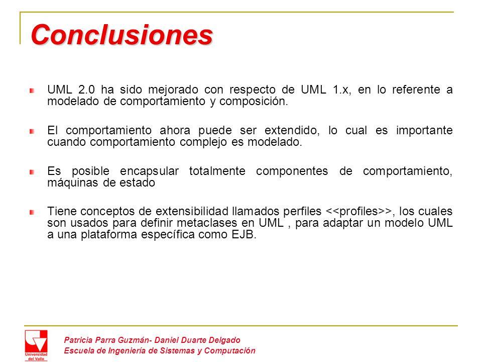 Conclusiones UML 2.0 ha sido mejorado con respecto de UML 1.x, en lo referente a modelado de comportamiento y composición.