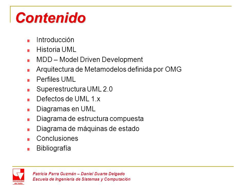 Contenido Introducción Historia UML MDD – Model Driven Development Arquitectura de Metamodelos definida por OMG Perfiles UML Superestructura UML 2.0 Defectos de UML 1.x Diagramas en UML Diagrama de estructura compuesta Diagrama de máquinas de estado Conclusiones Bibliografía Patricia Parra Guzmán – Daniel Duarte Delgado Escuela de Ingeniería de Sistemas y Computación