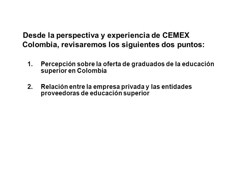 Desde la perspectiva y experiencia de CEMEX Colombia, revisaremos los siguientes dos puntos: 1.Percepción sobre la oferta de graduados de la educación superior en Colombia 2.Relación entre la empresa privada y las entidades proveedoras de educación superior