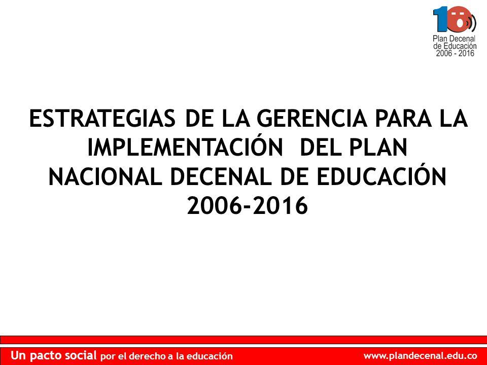 www.plandecenal.edu.co Un pacto social por el derecho a la educación ESTRATEGIAS DE LA GERENCIA PARA LA IMPLEMENTACIÓN DEL PLAN NACIONAL DECENAL DE EDUCACIÓN 2006-2016