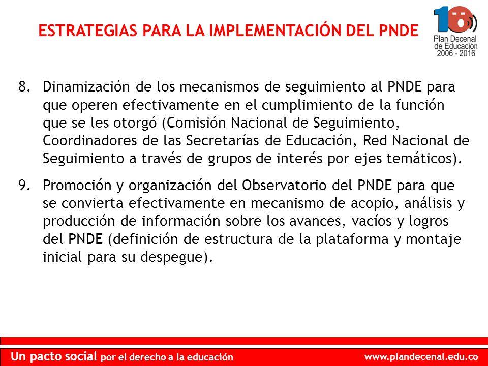 www.plandecenal.edu.co Un pacto social por el derecho a la educación ESTRATEGIAS PARA LA IMPLEMENTACIÓN DEL PNDE 8.Dinamización de los mecanismos de s
