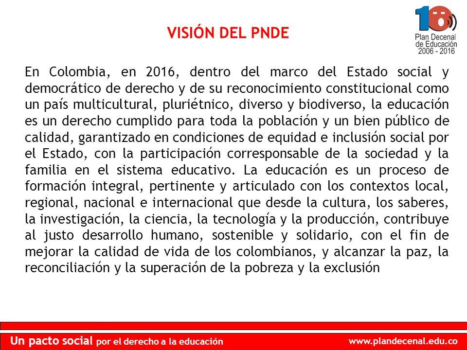 www.plandecenal.edu.co Un pacto social por el derecho a la educación En Colombia, en 2016, dentro del marco del Estado social y democrático de derecho