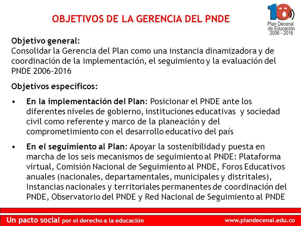 www.plandecenal.edu.co Un pacto social por el derecho a la educación OBJETIVOS DE LA GERENCIA DEL PNDE Objetivos específicos: En la implementación del