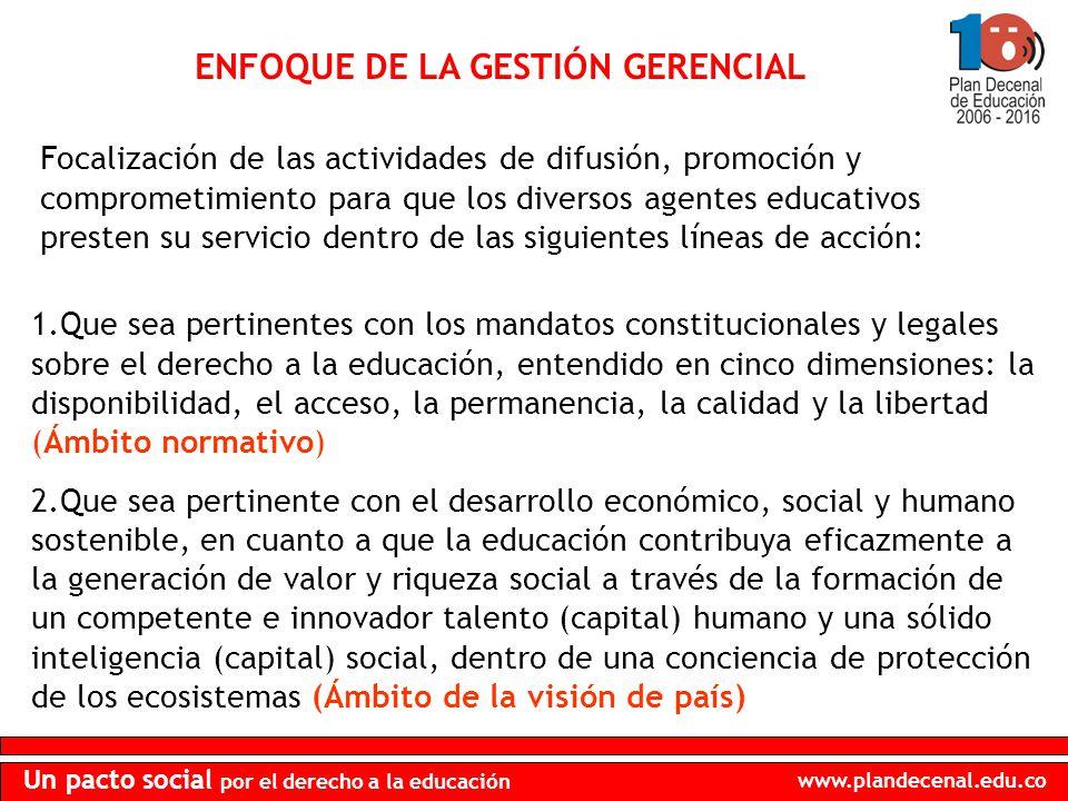 www.plandecenal.edu.co Un pacto social por el derecho a la educación ENFOQUE DE LA GESTIÓN GERENCIAL Focalización de las actividades de difusión, prom