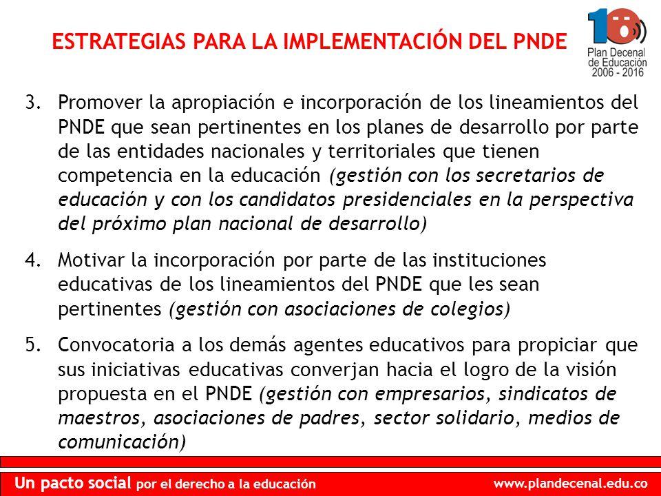 www.plandecenal.edu.co Un pacto social por el derecho a la educación ESTRATEGIAS PARA LA IMPLEMENTACIÓN DEL PNDE 3.Promover la apropiación e incorpora
