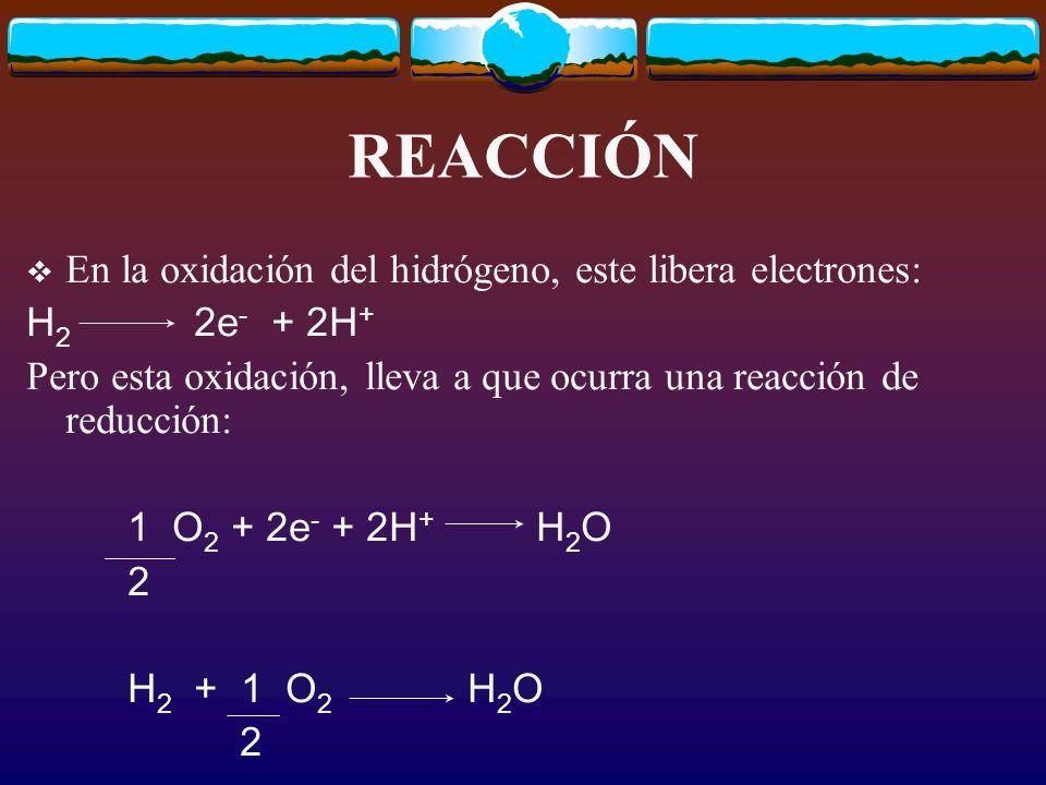 REACCIÓN En la oxidación del hidrógeno, este libera electrones: H 2 2e - + 2H + Pero esta oxidación, lleva a que ocurra una reacción de reducción: 1 O 2 + 2e - + 2H + H 2 O 2 H 2 + 1 O 2 H 2 O 2