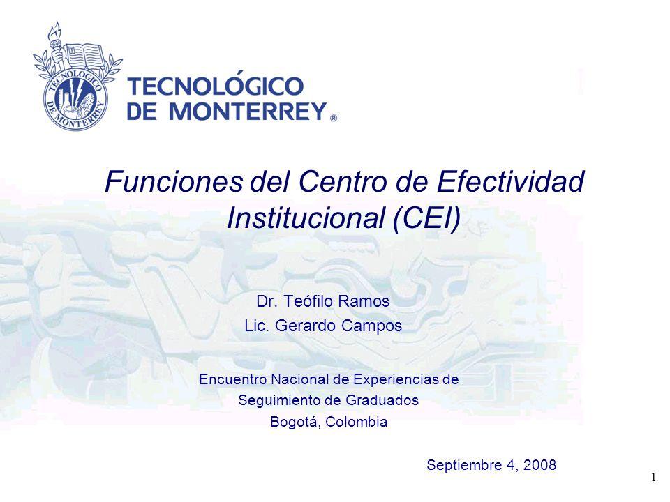 Encuentro Nacional de Experiencias de Seguimiento de Graduados Bogotá, Colombia Septiembre 4, 2008 1 Dr. Teófilo Ramos Lic. Gerardo Campos Funciones d