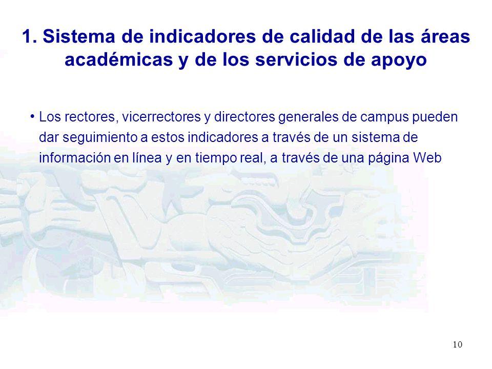 10 Los rectores, vicerrectores y directores generales de campus pueden dar seguimiento a estos indicadores a través de un sistema de información en lí