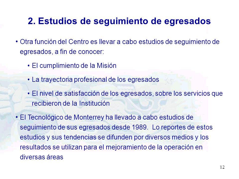 12 2. Estudios de seguimiento de egresados Otra función del Centro es llevar a cabo estudios de seguimiento de egresados, a fin de conocer: El cumplim