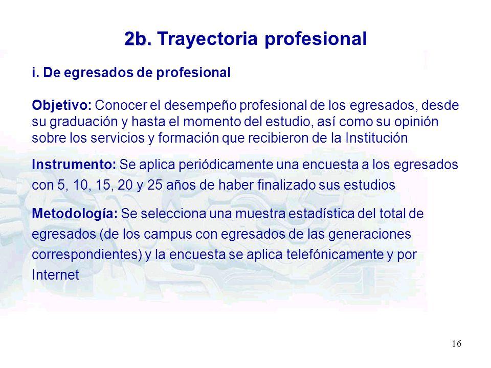 16 2b. 2b. Trayectoria profesional i. De egresados de profesional Objetivo: Conocer el desempeño profesional de los egresados, desde su graduación y h